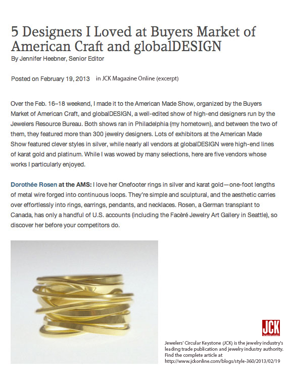 Jeweler's Circular Keystone Praise at Buyer's Market of American Craft 2013