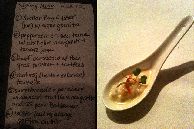 The tasting menu at Bar Ferdinand, left, and one of the many Amuse Bouche from Marigold