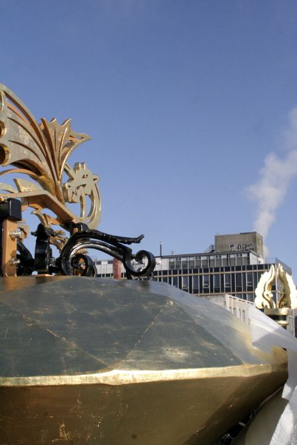 The Fireworks Dragon adorns the very top of the sculpture