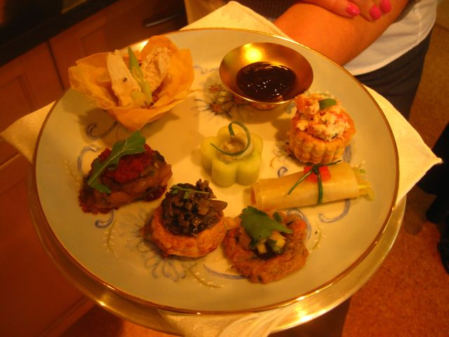 This shows part of the selection of hors d'oeuvres I created for a fundraising event for a hundred people