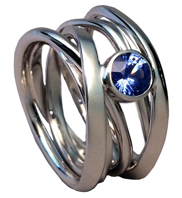 palladium white gold ring with sapphire