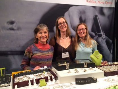 Friends Barb and Kathryn visit me at my booth in Vancouver