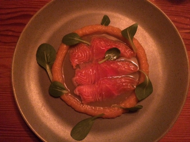 Fieldguide's Speckled Trout Sashimi in Dashi, with Carrot and Kimchi Purée