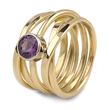 One-of-a-Kind Onefooter Ring in 18k Yellow Gold, with Sapphire