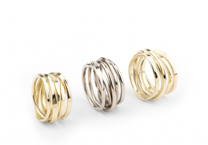 Onefooter Ring in 18K Palladium White Gold and Yellow Gold