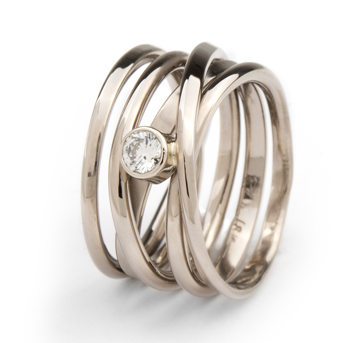 Palladium White Gold Diamond Onefooter Ring