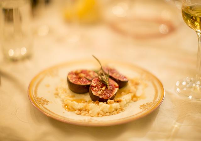 Roasted figgs with ricotta. Honey and Rosemary glaze, toasted hazelnut