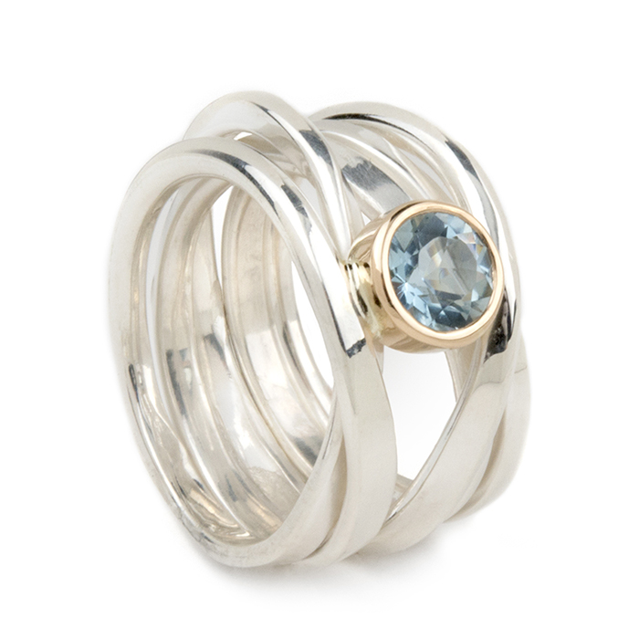 One-of-a-Kind || Sterling Onefooter Ring with Aquamarine in 18k Yellow Gold Bezel Setting