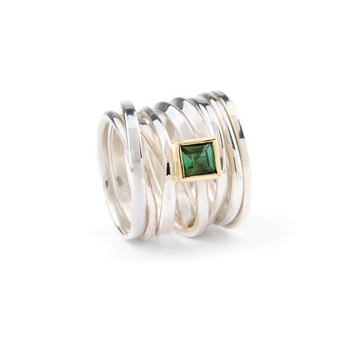 One of a Kind Ring Sterling Twofooter with Tourmaline
