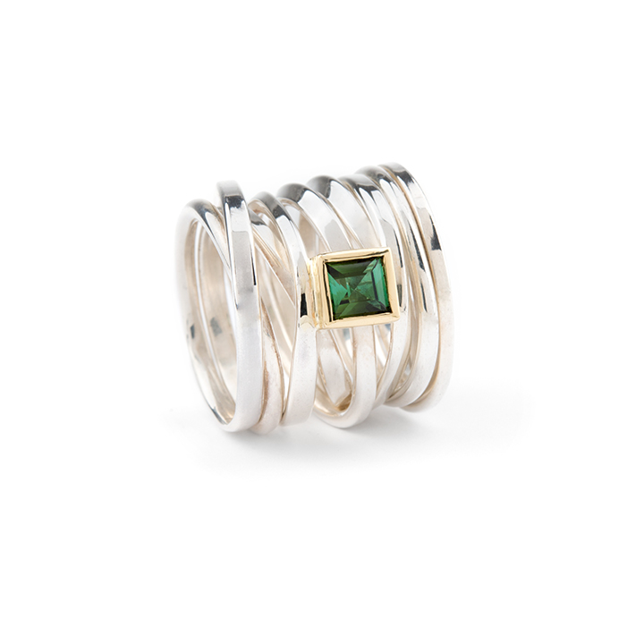 One-of-a-Kind || Sterling Twofooter Ring with Tourmaline set in 14k Yellow Gold, Size 8