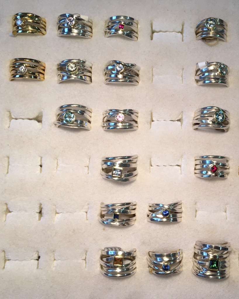 These are the rings with stones I have in the studio right now