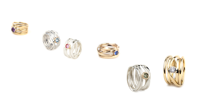 Silver or 18k gold rings with ethically mined diamonds or coloured gemstones set in 18k gold