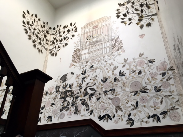 This mural delights in the staircase of the Ace Hotel in Portland