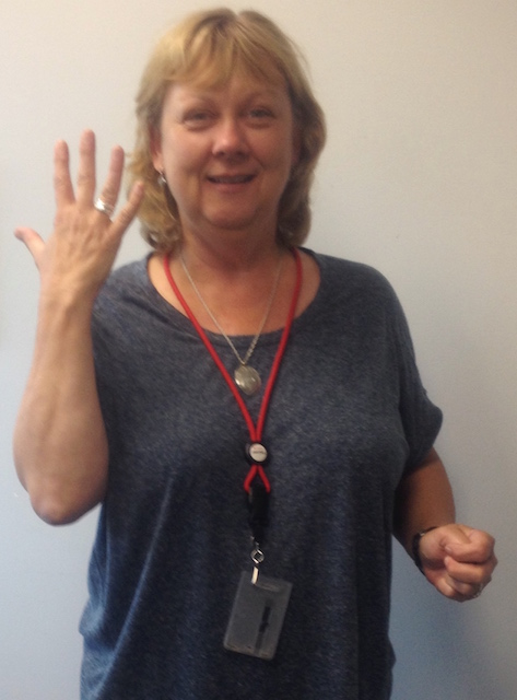 Shirley took this photo of the delighted. still crying Monica upon receiving her new Onefooter ring