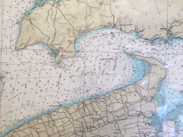 Our trip took us along the top of the Bay of Fundy. This awesome map was in the cottage we rented for the night