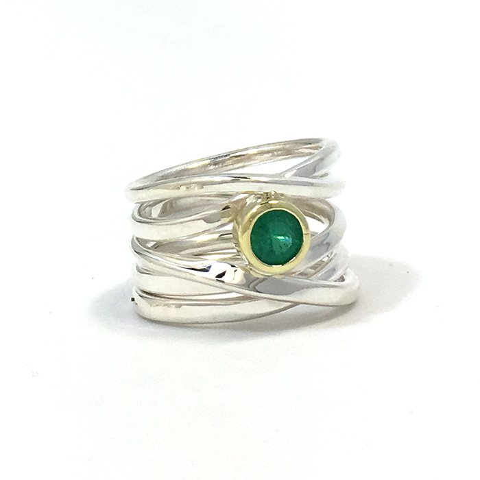 One-of-a-Kind #122 || Sterling Onefooter Ring with 5mm Emerald set in 18k yellow gold, Size 6