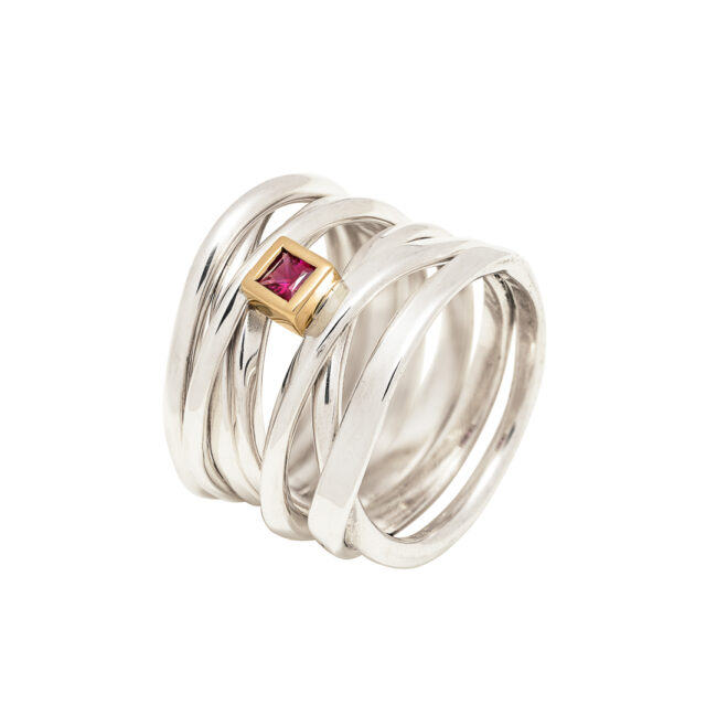 sterling silver ring with princess cut ruby in 18ky gold