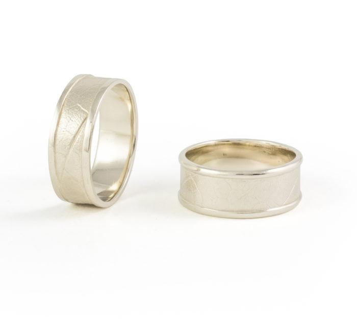 Maple Leaf White Gold Rings 14k