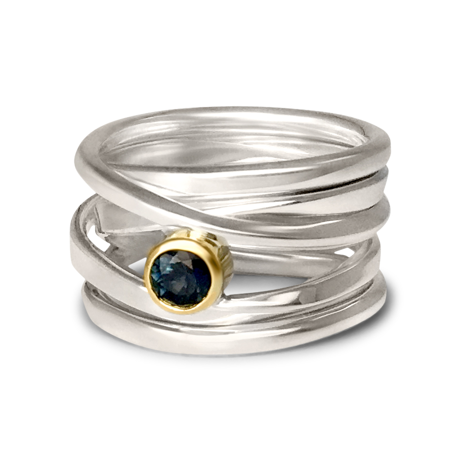 One-of-a-Kind #222 || Sterling Onefooter Ring with Australian sapphire set in 18k yellow gold, Size 6.5