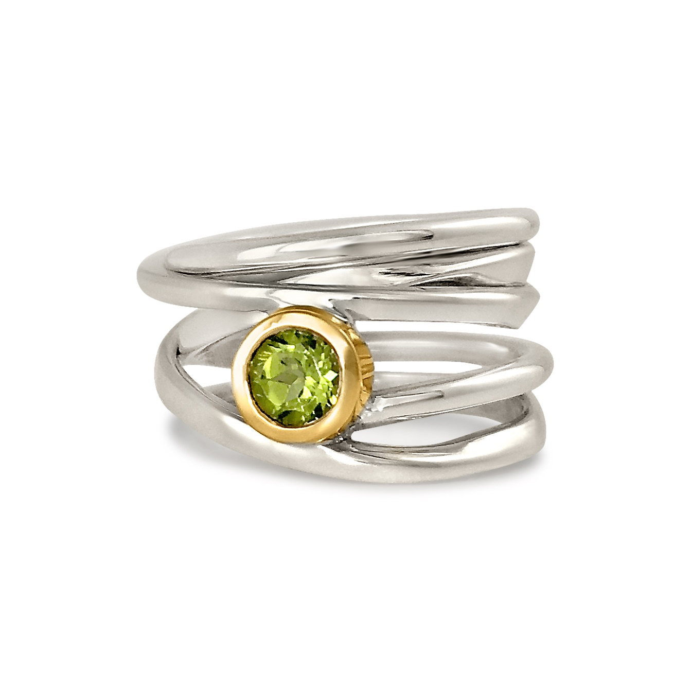 One-of-a-Kind #225 || Sterling Onefooter Ring with Peridot set in 18k Yellow-Gold Bezel, Size 7