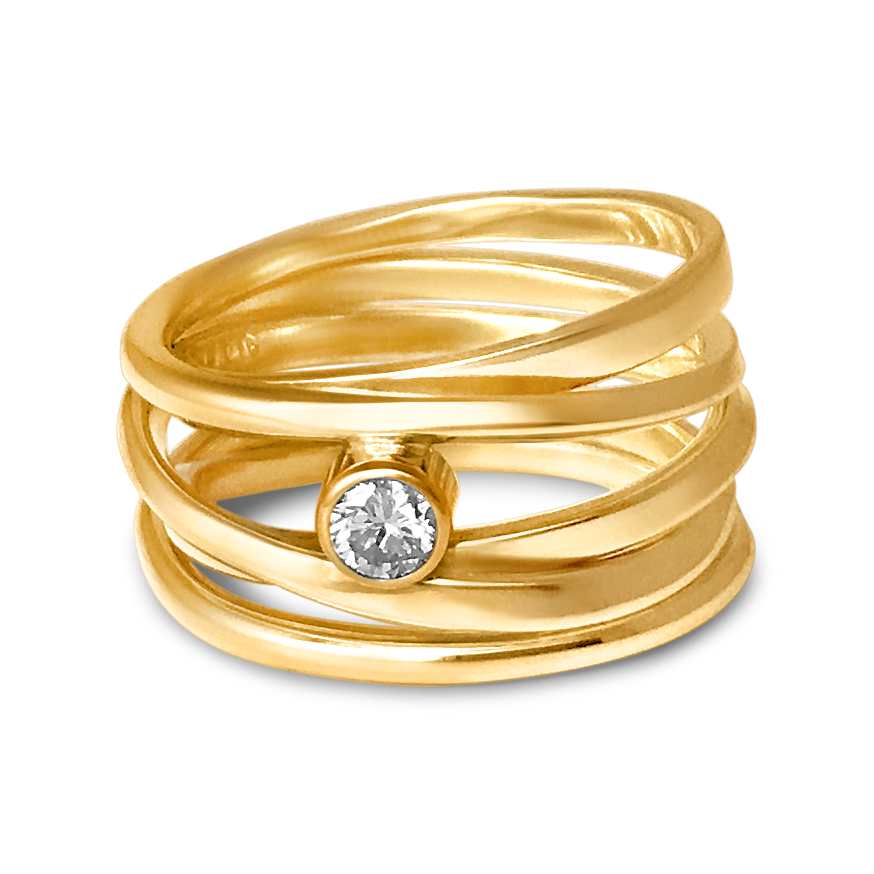 One-of-a-Kind #230 || Onefooter Ring with Canadian Diamond - 18k Yellow Gold, Size 8.5