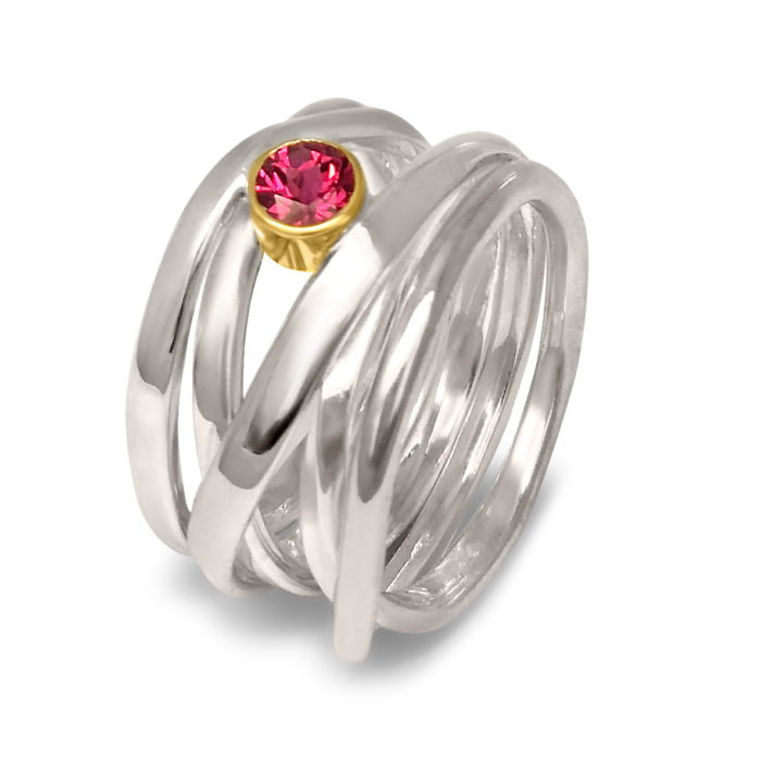 Red Spinal 18k yellow gold bezel Sterling Silver Ring