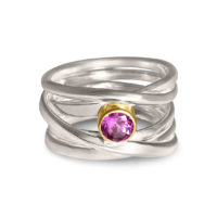 Amethyst set in Yellow Gold Ring in Sterling Silver