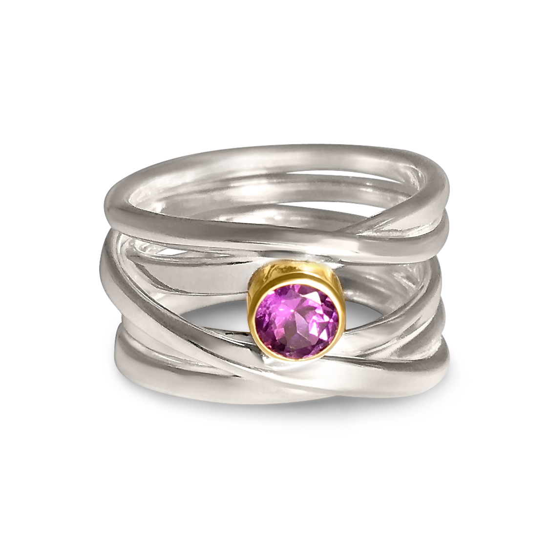 One-of-a-Kind #232 || Sterling Onefooter Ring with Amethyst in 18k yellow gold bezel setting, Size 8