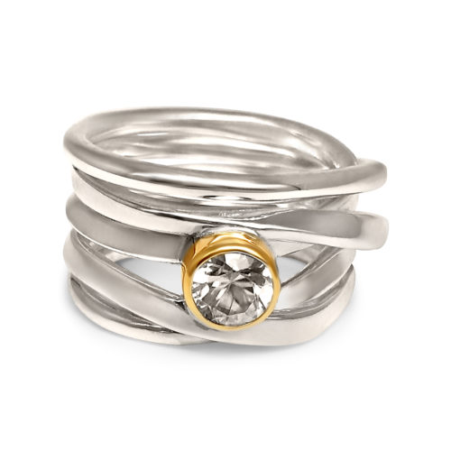 Sterling Silver Ring with White Zircon set in Yellow Gold