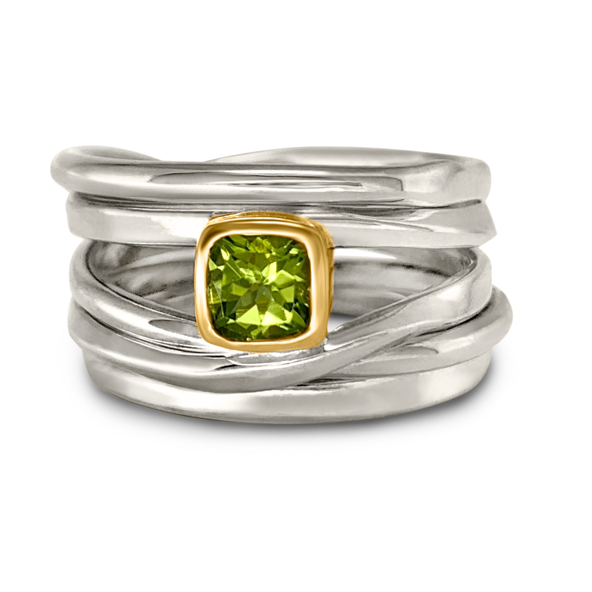 One-of-a-Kind #180 || Sterling Onefooter Ring with 0.6ct Cushion cut Peridot set in 18k Yellow-Gold Bezel, Size 10.25