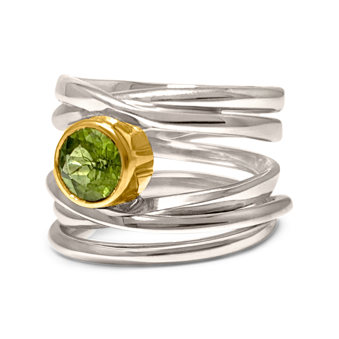One-of-a-Kind #256 || Sterling Onefooter Ring with 6mm Peridot set in 18k Yellow-Gold Bezel, Size 6.5
