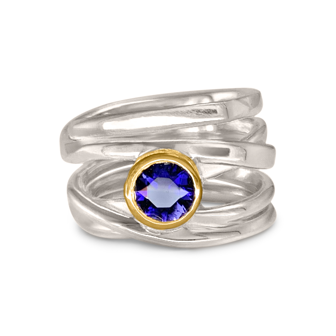 One-of-a-Kind #260 || Sterling Onefooter Ring with 6mm Iolite in 18k yellow gold bezel setting, Size 6
