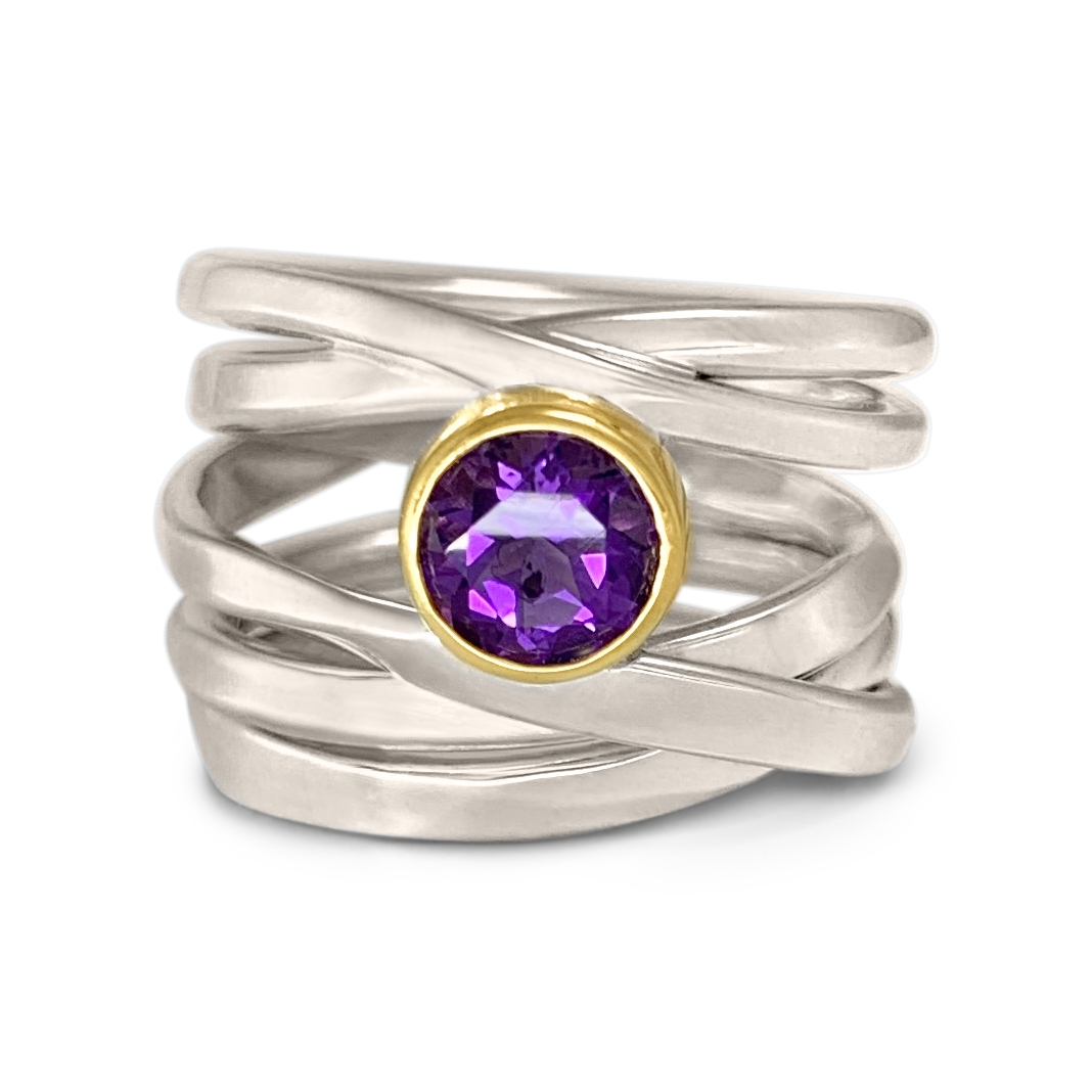 One-of-a-Kind #232 || Sterling Onefooter Ring with 6mmAmethyst in 18k yellow gold bezel setting, Size 6.5