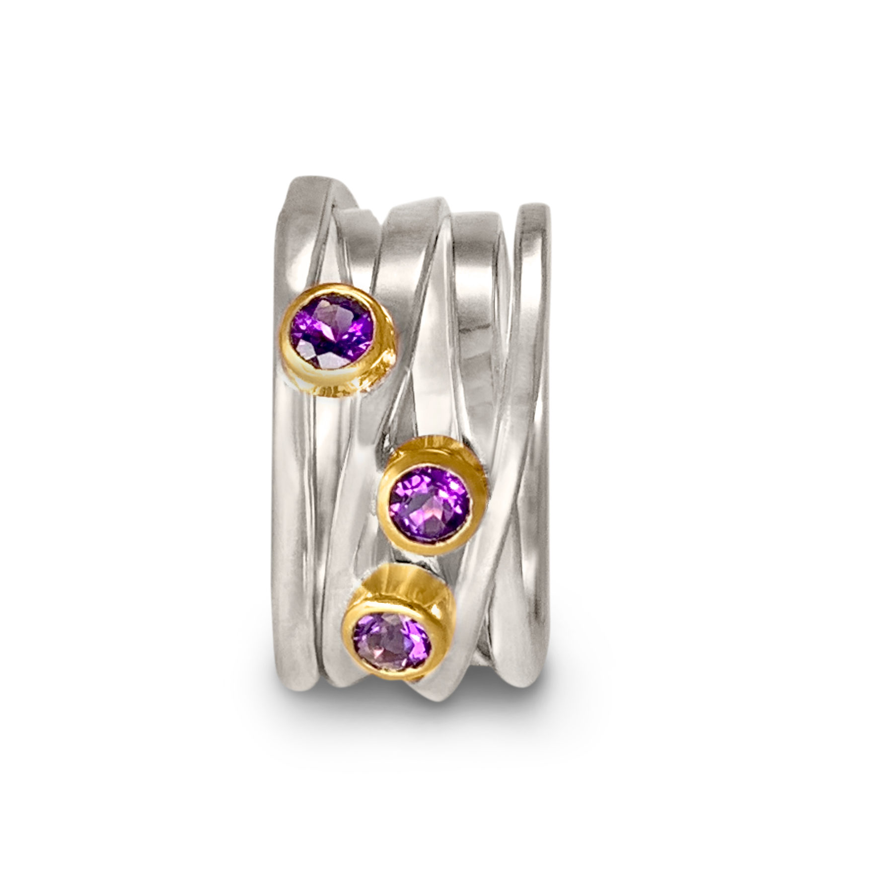 One-of-a-Kind #270 || Sterling Onefooter Ring with Amethyst in 18k yellow gold bezel setting, Size 8.5