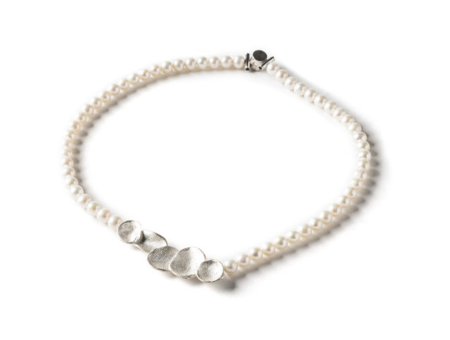 pearl necklace with handcrafted sterling component