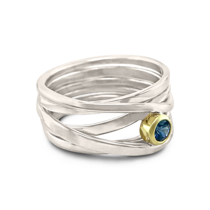 One-of-a-Kind #218 || Sterling Silver Onefooter Ring with Sapphire Size 12.25