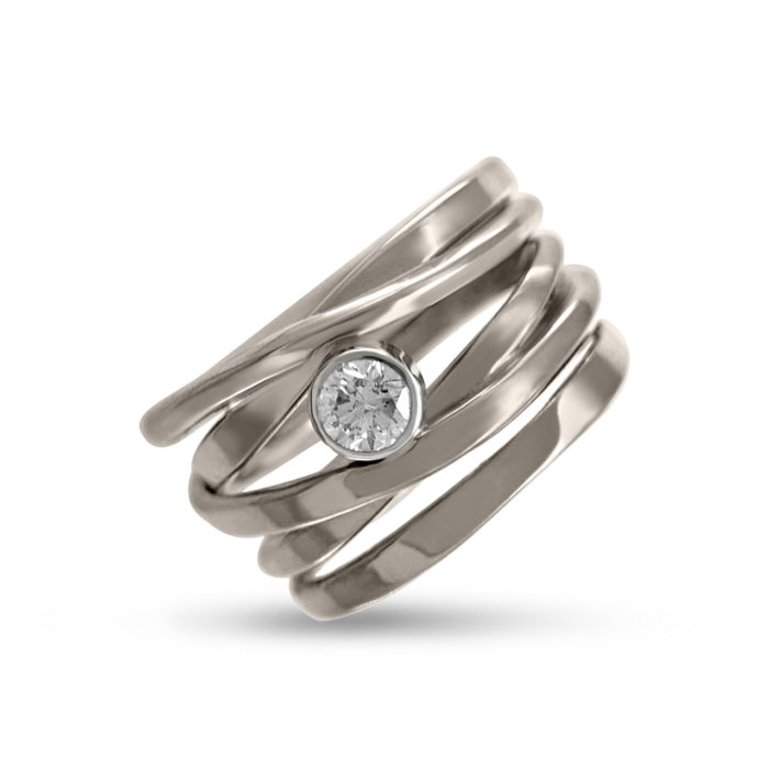 Dorothee Rosen Palladium White Gold One-Of-A-Kind #249 with .28 ct G_S12 Diamond Size 7