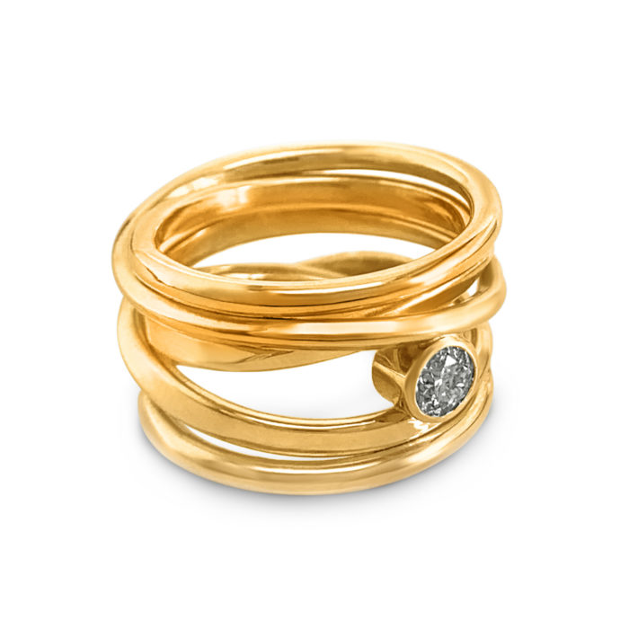 #278 Onefooter ring, 18k yellow gold, Size 6.5, with Canadian diamond