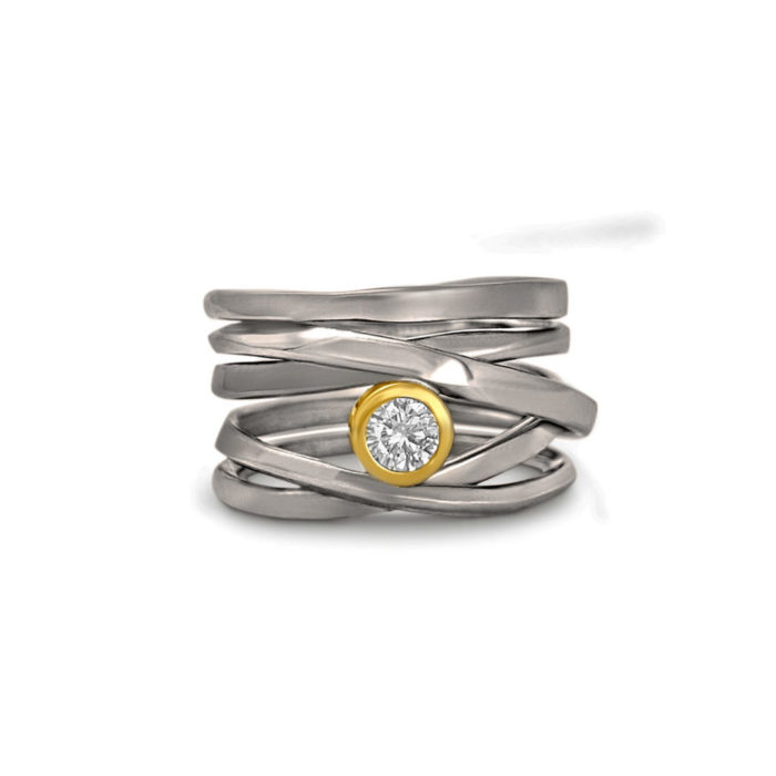 One-of-a-Kind #280 || 18k palladium white gold Onefooter Ring with Canadian diamond set in 18k yellow gold, Size 8