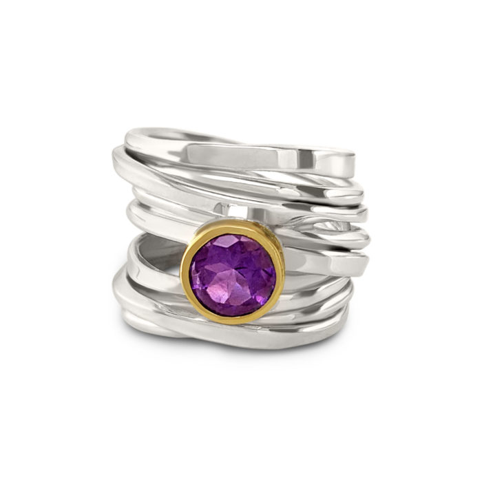 Twofooter ring, sterling silver, Size 9.5, with 8mm Amethyst, set in 18k yellow gold bezel. One-Of-A-Kind #282