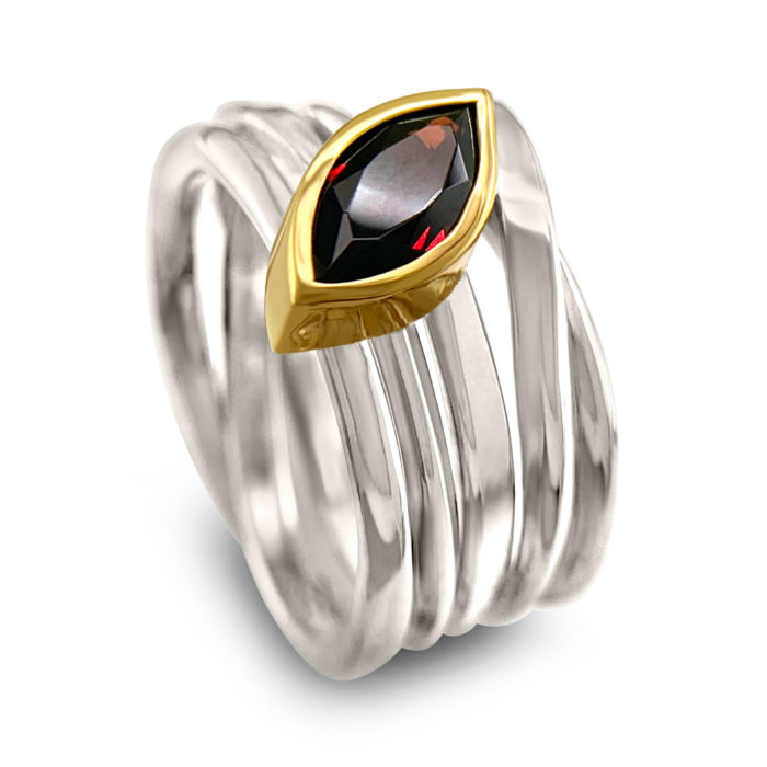 #288 One-of-a-kind Onefooter ring in Palladium Sterling Silver with Garnet