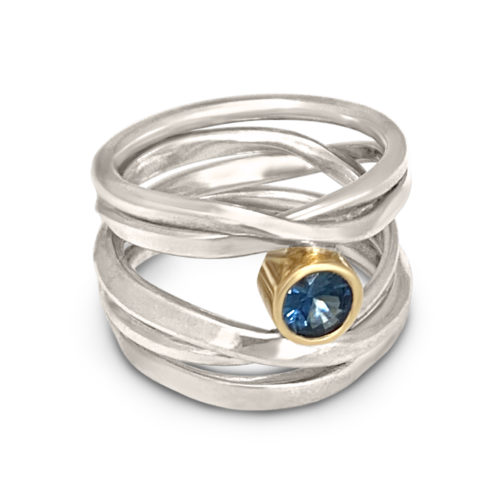 #289 One-of-a-kind Onefooter Ring in Sterling Silver Size 7.5 with Sapphire