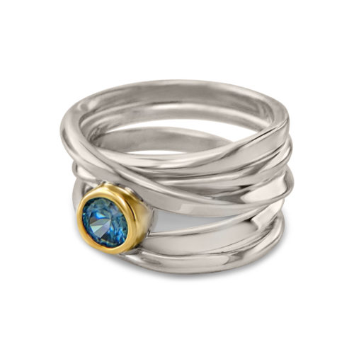 Onefooter ring, sterling silver, Size 7, with 5mm round blue zircon, set in 18k yellow gold bezel.