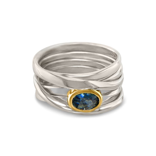 One-of-a-Kind #298    Onefooter Ring in Sterling Silver with Sapphire, Size 7.75