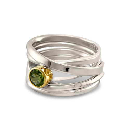 Onefooter ring, sterling silver, Size 8.5, with genuine round peridot, set in 18k yellow gold bezel. One-Of-A-Kind #313