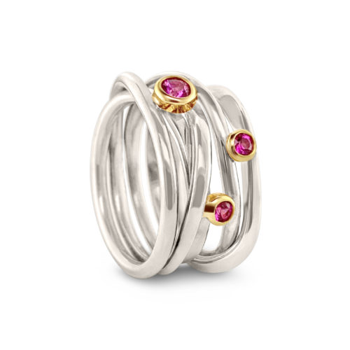 Hand-forged sterling silver Onefooter ring, with 3 pink sapphires set in 18k yellow gold.