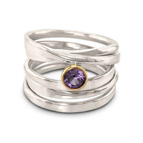 One-of-a-Kind #59 || Onefooter Ring in Sterling Silver with Pink Sapphire, Size 8