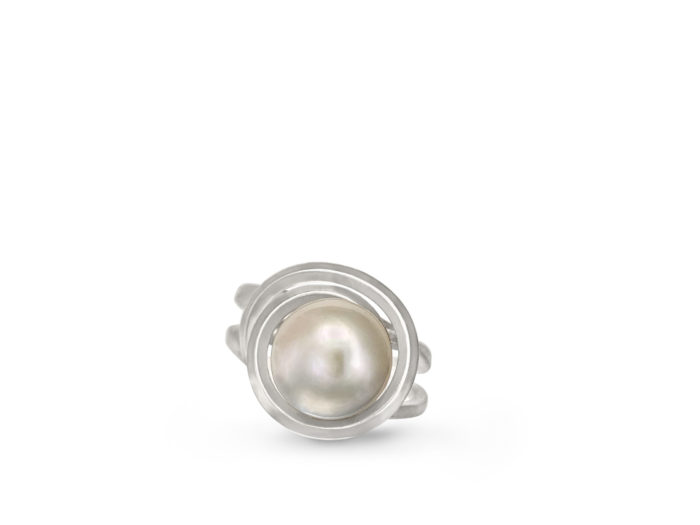 top view of the freshwater Kasumiga pearl being cradled in the handcrafted sterling silver ring