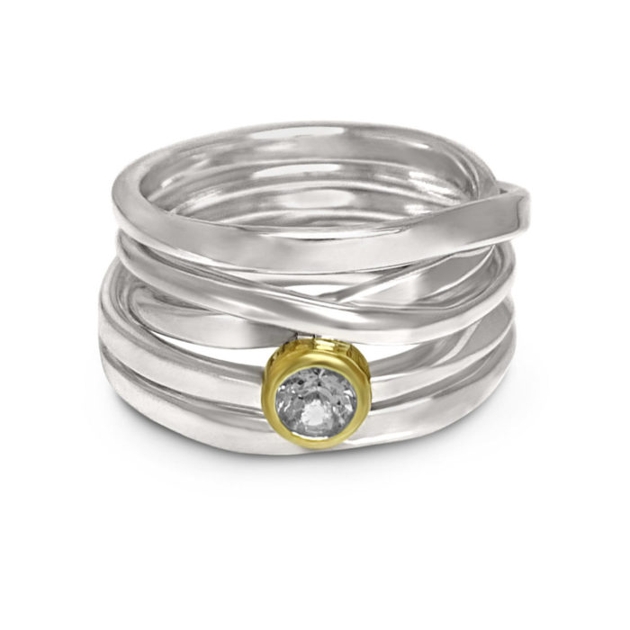 sterling wrap ring with aquamarine in 18k yellow gold bezel