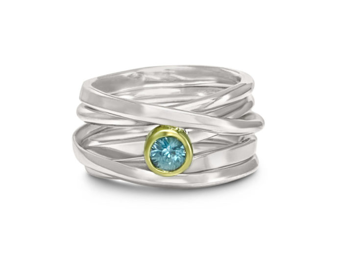 One-of-a-Kind #141 || Sterling Onefooter Ring with Blue Zircon, Size 7
